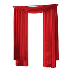 "HLC.ME - HLC.ME Sheer Curtain Window, Red, Panel - Each panel is approximately 54"" wide and 95"" in Length. For a full look use 2 panels to cover a standard size window. This picture shows two sheer panels  this package contains one (1) Sheer Panel. Decorate every window with style and sophistication. Allows natural light to flow through the room . Add a Sheer Scarf for an elegant finished look . Have pocket insert that create a clean  tailored look. The finishing touch for your window is a beautiful Decorative Curtain Rod (not included)."