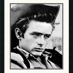 Amanti Art - James Dean - Cowboy Framed Print - This black & white photography portrait captures a relatively subdued moment in the life of James Dean, the original rebel without a cause. From small-town Midwestern boy to legendary Hollywood icon, James Dean lived the American dream to the fullest in his short life.