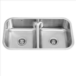 Vigo - VIGO VG3218 Double Bowl Sink - The VIGO undermount kitchen sink complements any decor and is highly functional. Every design detail is featured in this sink to meet your needs.