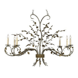 Currey & Co - Currey & Co Raintree Oval Chandelier - Like a bouquet of wildflowers, the Raintree Oval Chandelier bursts forth in fetching leaves and stems. Skillfully constructed and finished in rich Viejo Silver Leaf and Viejo Gold Leaf, this rustic fixture makes for a picturesque accent.