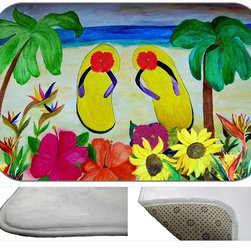 Flip Flops Plush Bath Mat, 20X15 - Bath mats from my original art and designs. Super soft plush fabric with a non skid backing. Eco friendly water base dyes that will not fade or alter the texture of the fabric. Washable 100 % polyester and mold resistant. Great for the bath room or anywhere in the home. At 1/2 inch thick our mats are softer and more plush than the typical comfort mats.Your toes will love you.