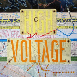 High Voltage Artwork - High Voltage is a 16in. x 20in. mixed-media collage on wood panel, made largely of maps with the addition of other papers. It was recently shown in an exhibit called in.Wired.in. It is framed in a neutral floating frame, wired for hanging, and the surface is varnished for protection. It is a striking piece with strong colors and bold lettering, which was produced from a stencil that fell from the high voltage wires in my backyard. The framed size is 21in. x 17in. and 1 1/4in. deep.