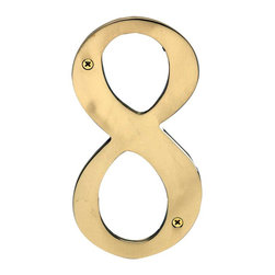 "Renovators Supply - House Numbers Bright Brass House Numbers:#8 8"" H - House numbers: Crafted of solid brass, these die cast numbers measure 8 in. high. Beautiful polished solid brass will withstand the test of time. Includes 2 screws for mounting and 2 wall anchors."