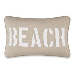 """Ivy Hill Home - Solid Seashell Blue Oblong Toss Pillow - Finish your beachside bedroom getaway with this Solid Seashell oblong toss pillow. The word """"Beach"""" is embroidered in white on a warm, sandy earth-tone ground that gives it a lovely all-over coastal presentation."""