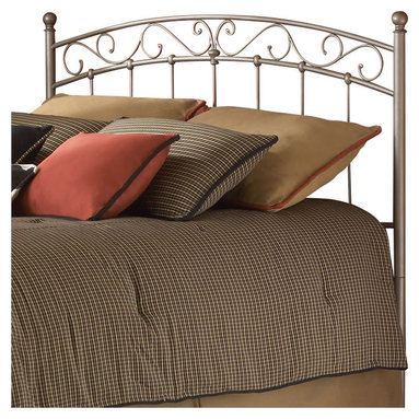 Fashion Bed - Fashion Bed Ellsworth Metal Headboard in Light Bronze Finish-Twin - Fashion Bed - Headboards - B42283 - Sleek contemporary design and a few classic decorative touches gives the Ellsworth Headboard style and sophistication. Clean lines and linear detail are perfectly offset by round posts round finials and flowing scrollwork making it the perfect addition to a modern or eclectic bedroom suite.