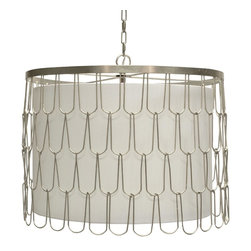 Worlds Away - Worlds Away Rivers Silver Leafed Wire Pendant - Silver leaf wire pendant with interior shade and diffuser.