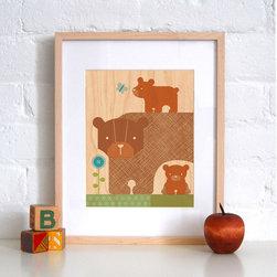 Petit Collage Bear Baby - Print on Wood - Bear Baby - Print on Wood