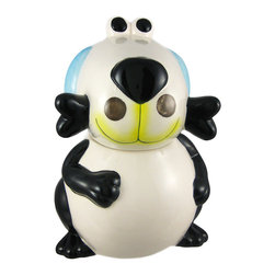 Adorable Puppy Dog Ceramic Cookie Jar Treats - This incredibly cute black and white puppy dog ceramic cookie jar, with blue ears and a yellow mouth, really brightens up a kitchen. The dog holds a black bone in his mouth, and has a body that will carry a whole lot of cookies. The dog measures 11 inches tall, 8 inches wide and 7 inches deep. The lid has a rubber seal around the bottom, so your cookies stay fresh. He makes a great gift for dog lovers, and can also be used to store dog treats.