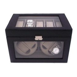 Black Leather 4-Watch Winder & 5-Watch Case - 12.75W x 9H in. - The Black Leather 4-Watch Winder & 5-Watch Case is practically peerless. Luxurious, beautiful, and exquisitely engineered, this watch winder and case will transform your watch collection from traditional to timeless. Designed to accommodate nine watches in total, this deluxe watch winder can fit both large and small wristwatches. You can display and enjoy five watches under the simple yet elegant glass top with a locking clasp in a black leather case. The gorgeous leather construction is matched only by the robust and reliable engineering. The included AC power adaptor lets you wind up to four watches at one time. The quiet motor is virtually silent and can be operated with four C-size batteries (not included) in case of a power failure. You can program the winder to just clockwise, or alternating clockwise and counterclockwise, for approximately 480 minutes or 4,320 revolutions of operation per day. About Bey-Berk InternationalThis quality item is created by Bey-Berk. For more than 20 years, Bey-Berk International has crafted and hand-selected unique gifts and accessories from around the world to meet the demands of discerning customers. With its line of elegant and distinctive products, Bey-Berk has established itself as a leader in luxury accessories.