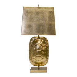 Worlds Away - Worlds Away Gold Leafed Tortoise Shell Lamp CECILE G - Gold leafed tortoise shell lamp with rectangular metal shade. Ul approved for (1) 60 watt edison based bulb. 3' clear cord set.