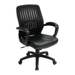 Office Star - Screen Back Chair w Faux Leather Seat - Breathable screen back with built-in lumbar support. One touch pneumatic seat height adjustment. Locking tilt control with adjustable tilt tension. Padded armrests. Heavy duty Nylon base with dual wheel carpet casters. Black faux Leather. 25 in. D x 26.75 in. W x 42 in. H