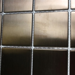 Sample - Metal Rose Stainless Steel 2x2 Square Tiles Sample - sample-METAL ROSE STAINLESS STEEL  2X2 SQUARE TILES 1/4 SHEET SAMPLE  SAMPLE   Samples are intended for color comparison purposes, not installation purposes.-Glass Tiles -