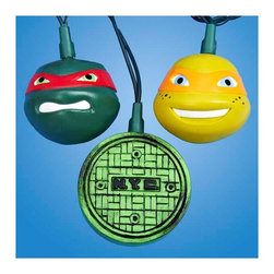 """Lamps Plus - Kids Ten Teenage Mutant Ninja Turtles Party String Lights - Add a little fun to your indoor or outdoor spaces with this set of ten string lights featuring little Teenage Mutant Nina Turtles. Perfect for entertaining or as an eye-catching accent in bedrooms and more these lights add personality and cheer. Includes four spare bulbs and green wire. Teenage Mutant Ninja Turtle string lights. 10-light string. For indoor and outdoor use. Includes ten 12v .08A clear incandescent bulbs. Includes 4 spare bulbs and 1 fuse. Includes 30"""" of green lead wire. 12"""" of spacing between lights.   Teenage Mutant Ninja Turtle string lights.  10-light string.  For indoor and outdoor use.  Includes ten 12v .08A clear incandescent bulbs.  Includes 4 spare bulbs and 1 fuse.  Includes 30"""" of green lead wire.  12"""" of spacing between lights."""