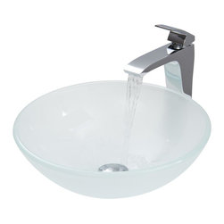 Vigo Industries - 16.5 in. Frosted Vessel Sink and Faucet Set - Includes pop up drain and mounting ring and hot-cold waterlines. Fresh, exciting and bold. Translucent and soft bowl. Handmade scratch resistant. Non porous surface prevent to discoloration and fading. Stain resistant. Easy to clean surface. Smooth polished interior and exterior. Above counter installation. Simple, single lever and mineral resistant nozzle faucet. Durable and long life. Resist corrosion and tarnishing. Exceeding industry durability standards. High quality ceramic disc cartridge ensures maintenance free use. Easy single hole faucet installation. Water pressure tested for industry standard. 2.2 GPM flow rate. Standard US plumbing 0.38 in. connections. ADA compliant. cUPC certified by IAPMO. Limited lifetime warranty. Made from solid tempered glass and brass. White and chrome color. Drain opening: 1.75 in.. Glass thickness: 0.63 in.. Faucet: 11.5 in.. Spout: 9.75 in. H. Spout reach: 8.25 in.. Standard opening: 1.38 in. Dia.. Sink: 16.5 in. Dia. x 6 in. H. Faucet Assembly Instructions. Pop-up-Drain Instruction Manual. Sink Assembly Instructions