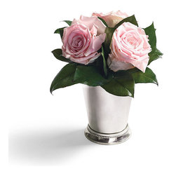 Frontgate - Edith Julep Roses - Preserved roses require no sun, soil or water. A beautiful accent for any space, or a thoughtful gift. Occasionally dust with compressed air. The beauty of three pink roses is delicately preserved in our Edith Julep Roses. Each real flower is hand-trimmed and arranged in a classic silver julep cup, evoking the romance of the South.  .  .  . Made in USA.