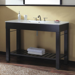 """48"""" Loft Vanity - Great for a modern or contemporary style bathroom, the 48"""" Loft Vanity features a sleek design and beautiful Dark Walnut finish. The porcelain countertop has a built-in sink and ample space for toiletries."""