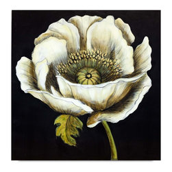 "Vertuu Design - 'Dramatic Poppy II' Artwork - Make a bold statement in your living or dining room with the ""Dramatic Poppy II"" Artwork. The piece's large, shaded white poppy provides a dramatic contrast to its solid black background. Pair this hand-painted canvas with bright decor for a cohesive feel or with neutral pieces to create a striking focal point."