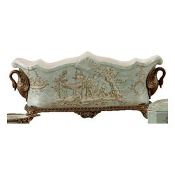 Oriental Danny - Porcelain Planter with Bronze Ormolu - Fancy a castle like King Ludwig II? This porcelain planter looks like it came straight from his Bavarian royal residence. Plant some succulents, flowers or bulbs in this indoor, celadon toile patterned planter and revel in the finery of the centerpiece.