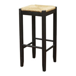 American Heritage - Rattan 29 in. Bar Stool in Black and Seagrass - Set of 2. Finished in Black. Seagrass Seat. Backless. Stationary Stool. Construction Material: Wood. Assembly Required. 29 in. Seat Height. 1 Year Warranty. Seat Width: 13.5 inches. Seat Depth: 13.5 inches. 13.5 in. W x 13.5 in. D x 29 in. H