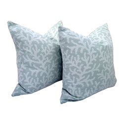PillowFever - Beach Style Pillow Cover in Spa with Coral Design - Pillow insert is not included!