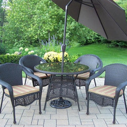 Oakland Living - Elite Resin Wicker 7-Pc Patio Dining Set - Includes one dining table, four chairs with cushions, tilting umbrella and umbrella stand. Fade, chip and crack resistant. Traditional lattice weave pattern. Stainless steel hardware. Warranty: One year limited. Made from durable resin wicker and steel. Coffee color. Frame has hardened powder coat finish. Minimal assembly required. Table: 42 in. Dia. x 29 in. H. Umbrella: 108 in. L x 108 in. W x 100 in. H (45 lbs.)Our all weather resin wicker sets are the perfect edition to any setting. Adds beauty, style and functionality to your home, garden or back yard patio. Ideal for indoors or out. The Oakland Elite Resin Wicker Collection combines style and modern designs giving you a rich addition to any outdoor setting.