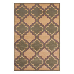"""Corinthian 5357 Beige/Sage Quatrefoil Rug - Corinthian 5357 Beige/Sage Quatrefoil 20"""" x 31"""". Machine-Made of 100% Heat-set Polypropelene with Hand-Carved Patterns with No Backing. Made in China. Vacuum regularly & spot clean stains. Professional cleaning recommended periodically."""