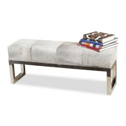 Interlude Home - Interlude Home Moro Hide Bench - This Interlude Home Bench is crafted from Stainless Steel and Hide and finished in Polished Steel and Gray Hide.  Overall size is:  45 in. W  x  11 in. D x 18 in. H.