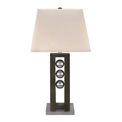 Lite Source - Lite Source Pelota 150W Incand. Contemporary Table Lamp XSL-0542 - This Lite Source contemporary table lamp from the Pelota Collection features a rectangular base with a cut-out center in which three silvery orbs are suspended. The Dark Walnut and Satin Steel color combination helps accentuate the elegant blend of modern and traditional styling, while an off-white diffuser completes the look.