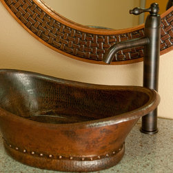 Bathtub Vessel Copper Sink - Premier Copper Products' sinks are comprised of 99.9% recycled copper. The rich character of their sinks is courtesy of hand-hammering by artisans and pre-aging the copper over an open fire to develop its deep patina.