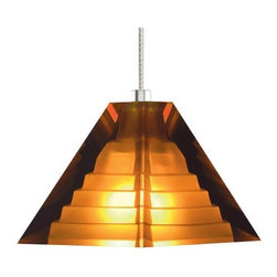 "Tech Lighting - Pyramid Pendant by Tech Lighting - Beauty and strength as eternal as ancient Egyptian pyramids. The Tech Lighting Pyramid Pendant features a pressed glass shade formed into a classic pyramid shape. Inside, a subtle step pattern adds structural dimension as well as a refractive quality. Available in several glass colors and metal finishes. For mounting options, see below.Tech Lighting, headquartered in Skokie, IL, is known for their innovative lighting systems and exquisite lighting designs. Their passion for art, sophistication and imagination is balanced by rigorous testing and quality control in the creation of their line-voltage and low-voltage lighting, including the Tech Lighting FreeJack and monorail systems and track heads.The Tech Lighting Pyramid Pendant is available with the following:Details:Pyramid-shaped, pressed glass shadePyrex glass shieldCeiling canopy finish matches finish option selected72"" field-cuttable suspension cableLow-voltageETL ListedOptions:Finish: Antique Bronze, Chrome, or Satin Nickel.Mounting: Freejack, Monopoint, Monorail, or Two-Circuit Monorail.Shade: Amber, Cobalt, or Frost.Mounting Details:Freejack: See Related Items for mounting options.Monopoint: Includes one 4"" round flush canopy and low-voltage transformer.Monorail: Includes Freejack adaptor for Monorail installation.Two-Circuit Monorail: Includes Freejack adaptor for Two-Circuit Monorail installation.Lighting:One 35 Watt 12 Volt Bi-Pin Low-voltage Halogen lamp (included).Shipping:This item usually ships within 3 to 5 business days."