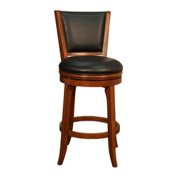 American Heritage - Peyton Bar Stool - Set of 2 - Includes 2 Stools. Finished In Suede With Black Vinyl. Full Swivel. Fully-Integrated Back Support. 3 in. Cushion. Bar Stool Dimensions: 24.25 in. W x 24.25 in. D x 45.25 in. H. Seat Height: 30 inches