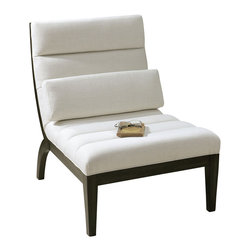 """Carolyn Kinder - Carolyn Kinder Berlynn Modern Armless Chair X-97132 - Sleek and modern lounge chair with sumptuous channel tufts in a relaxing curve. Durable white linen blend on exposed wood frame with rubbed ebony finish. Pillow included. Seat height is 18""""."""