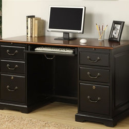 Riverside Furniture - Bridgeport Flat Top Desk - Two pull-out writing shelves above drawers. Four storage drawers. Two top drawers with felt-lined bottoms. Two bottom file drawers accommodates either letter or legal file folders. Drawers with dovetail joinery construction. Mounted on ball-bearing extension guides. Center drawer has a drop-front face. Can be utilized as a keyboard, mouse work area or a conventional drawer. Removable pencil tray and a felt-lined bottom, plus wiring access hole in back. One fixed bottom shelf in kneehole area. Base levelers. CPSC HR-4040 certified. Made from poplar hardwood solid and engineered wood. Burnished cherry and antique black finish. 54 in. W x 25 in. D x 30 in. H (212 lbs.). Assembly Instructions