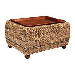 West Indies - Wicker, mahogany and abaca blend well to make an exotic yet simple table design.