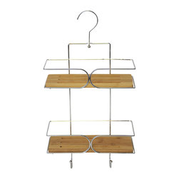 Metal Shower Caddy with Pivoting Hook / Bamboo Shelves / Chrome - This shower caddy is made of stainless steel and features 2 shelves in durable bamboo and hanging hooks for keeping shampoos, conditioners, soap, razors closer and within reach. Top pivoting hook holds the caddy securely in place on most pipes. Dimensions are height of 15.2-Inch, width of 9.8-Inch and depth of 4.3-Inch. No assembly required. Clean with warm soapy water. Color bamboo and chrome. This shower caddy will add a natural design to your shower and will offer useful storage in any bathroom! Complete your decoration with other products of the same collection. Imported.