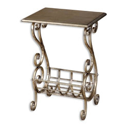 Uttermost - Grace Feyock Lilah Magazine Table - Designer: Grace Feyock. Made of Metal & Metal. 18 in. W x 14 in. D x 26 in. HLightly burnished silver leaf finish with subtle champagne patina. Decorative hand forged metal base.
