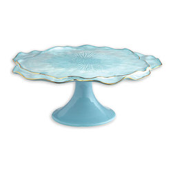 Ceramic Petal Cake Plate - Aqua Luxe - Particularly when you want your guests commenting admiringly on your taste after the party, splendor is a byword in creating a special-occasion home arrangement � and the Aqua Luxe Petal Cake Plate makes it effortless.  Particularly glamorous at the center of a sideboard or on a tea table, this elevated cake stand mimics the upturned edges of an organza flower in glistening art ceramic.
