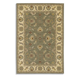 """Karastan - Sierra Mar Sedona Limestone Oriental 9'6"""" x 13'2"""" Karastan Rug (33002) - Comfortable, weathered, easy to live with color, is the signature style of the Sierra Mar collection, with relaxed patterns that complement both traditional and modern design. Woven in the U.S.A., the pure New Zealand worsted wool yarns have been specially twisted and space-dyed to create artful color 'stria' reminiscent of fine hand woven 'Peshawar' rugs."""