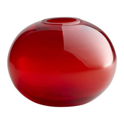Cyan Design - Cyan Design Small Red Pod Vase X-17900 - A small spherical pod shape draws your eye to this stunning Cyan Design vase. This pod vase is simple, with translucent red coloring for vibrancy and a stout shape that gives it a visual weight, making it an elegant addition to any room.