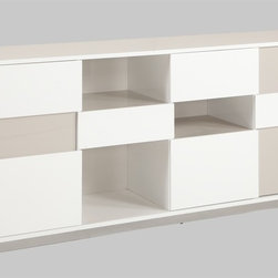 Chintaly Imports - Gina Contemporary 2 Tone Buffet with Open Storage - Modern buffet cabinet in High Gloss White and High Gloss Grey. It features 3 drawers and 3 open shelves. It also has 2 self closing doors. The base is chrome plated metal.