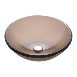 Kraus - Kraus Frosted Brown 14 inch Glass Vessel Sink, No Pop-Up Drain, 6 X 14 X 14 - Fashionable bathroom sink is the perfect harmony of elegance and style
