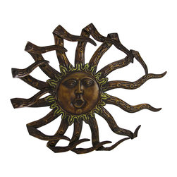 Zeckos - Wind Blown Celestial Sun Decorative Metal Wall Hanging - Brighten any room, garden oasis or patio with an artistic sunburst that will make everyday feel sunny This 'fun'tastical 17.5 inch (44 cm) long, 14 inch (36 cm) high, 1 inch (3 cm) deep metal wall hanging features a rustic bronze lacquered finish, expert craftsmanship and a 3D design with a graceful circle of sun rays that radiate from the happy face. It easily hangs using the attached keyhole hanger on the back, and would look amazing on the patio, front porch or in your entryway It's makes a great otherworldly gift for a friend, or just to keep for yourself
