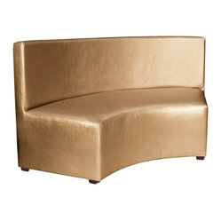 "Howard Elliott - Howard Elliott Shimmer Gold Universal Radius InCurve - Create sleek, modern seating arrangements for bars, lobbies or restaurants with our Radius In-Curve Banquette. It features a dramatic arced shape. Place 2 or more together for a dramatic seating display. Take your seating arrangement a step further by pairing it up with the coordinating Bench and Round Ottoman!. The high-style design and high-end materials in the Benches are what set Howard Elliott apart from the competition. Howard Elliott's innovative product line is carefully designed and packaged to ensure low damage rates for their high quality and custom items. Finish/Frame/Fabric Description: This Shimmer Gold piece is 100% polyurethane finished in shimmering gold faux leather. Material: 100% polyurethane . Product Dimensions: 66""W x 27""D x 36""H."