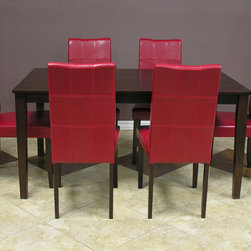Warehouse of Tiffany - Warehouse of Tiffany Evellen Red 7-piece Dining Table and Chairs Set - Add warmth and beauty to your dining area with this Evellen Red 7-piece dining furniture set from Warehouse of Tiffany. A rich cappuccino wood finish and red bi-cast leather upholstery add sophistication to this modern dining set.