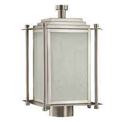 Quorum Lighting - Quorum Lighting Shoreham Transitional Outdoor Post Lantern Light X-56-3-2597 - This clean lined, angular Quorum Lighting outdoor post lantern features crisp finishes and clean style that give it a modern, updated feel. From the Shoreham Collection, this contemporary outdoor lighting fixture features a beautiful silvery Satin finish paired with opal glass panels for a soft, even glow.