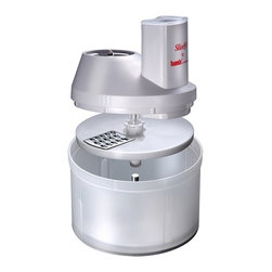 Bamix - Bamix Professional SliceSy Attachchment - Ultra-portable all-purpose prep tool turns your immersion blender into a free standing food processor. Performs all the functions of a free-standing mini food processor. Stainless-steel blades guarantee precision cutting. Includes: - one double blade knife; - One double blade knife- Grating blade # 3 Coarse- Slicing blade # 5, ThickBPA-Free Work bowl and feed tube are made of plastic for durability. Disc holder. To be used with Bamix Hand blenders only. Made in Switzerland.
