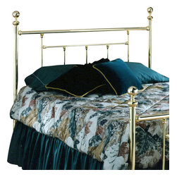 Hillsdale - Hillsdale Chelsea Metal Headboard in Classic Brass-Full - Hillsdale - Headboards - 1036 - With its classic glossy-brass style this beautiful Chelsea headboard possesses a subtle sophistication that adds a perfectly relaxing tone to your decor. The linear lines of this headboard combined with it's traditional round posts give it the appearance of a treasured heirloom.