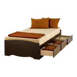 Prepac - Prepac Espresso Twin Platform 3-Drawer Storage Bed - The twin mate's platform storage bed with 3 drawers does double duty as a bed and dresser. With three generously sized drawers for keeping your linens, blankets and clothes, this bed provides space-saving storage for even the smallest bedroom. No need for a box spring, either: Its slat support system only requires a mattress. Position the drawers on either the right or left side of the bed, depending on the layout of your room, and watch your floor space grow!