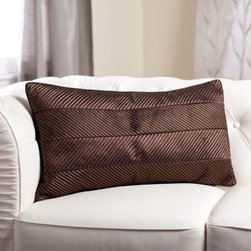 Edie Inc. Luxe Chevron Cord Decorative Pillow - Chocolate - The Edie Inc. Luxe Chevron Cord Decorative Pillow - Chocolate is in the style business. This rectangular throw pillow features a sophisticated chevron pattern in chocolate brown with a handy side zipper for easy access to the plump feather and down insert. A smart way to decorate your space!About Edie, Inc. LuxeCreated by former fashion designer, Edie Roberts, Edie, Inc., Luxe is a home accessory collection inspired by spirited and unconventional fabric mixes with couture detailing. Edie wants to bring you unique design sensibility and elegant detailing not typically seen in home decor. This collection includes decorative pillows and cushions for both indoors and out, fashion bedding, fun pet beds, and accessories filled with detail, color, and textures. Hand detailing, embroidery, tucking, laser-cutting, and silk cording find homes in looks that range from traditional to transitional to modern.