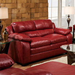 """Acme Furniture - Jeremy Loveseat in Soho Cardinal Bonded Leather - Jeremy Loveseat in Soho Cardinal BLM; Finish: Soho Cardinal BLM; Materials: Bonded Leather Match; Weight: 90 lbs; Dimensions: 64""""L x 38""""D x 39""""H"""